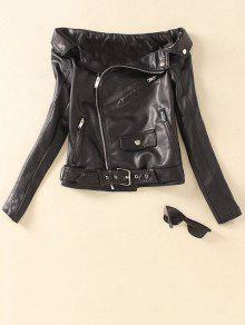 Off Shoulder Zippered Biker Jacket - Black S