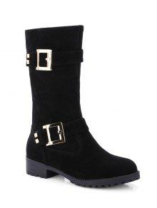 Bota Media Tacón Plano Doble Hebilla Y Zipper - Negro 38