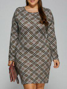 Long Sleeve Plaid Sheath Tee Dress - Checked 2xl
