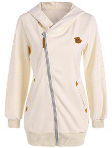 Leather Patch Inclined Zip Up Hoodie - Off-white S