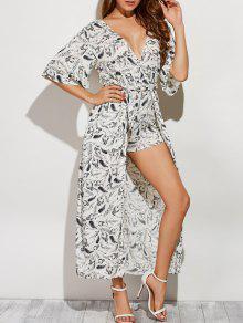 Pluma De Impresión De La Falda Maxi Romper - Blanco L