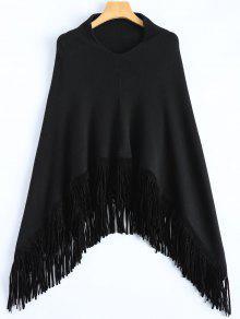 Bordée Hankerchief Hem Knit Poncho - Noir