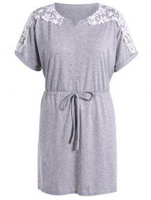 Vestido Cordones Y Empalme Encaje - Gris Claro 2xl