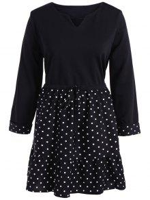 Plus Size Polka Dot Splicing Dress - Black 2xl