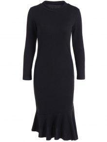 فستان سويت جوهرة الرقبة ميرميد - أسود Xl