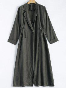 Back Slit Drawstring Maxi Trench Coat - Gray Xl