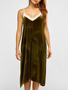 فستان شبكي التريم مخلي كامي - أخضر M