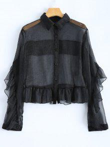Frilled Sheer Shirt - Black 2xl
