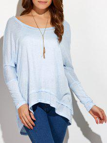 High Low Oversized Tee - Light Blue S