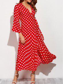Maxi Vestido Envolvente Lunares Y Navidad - Rojo Con Blanco S