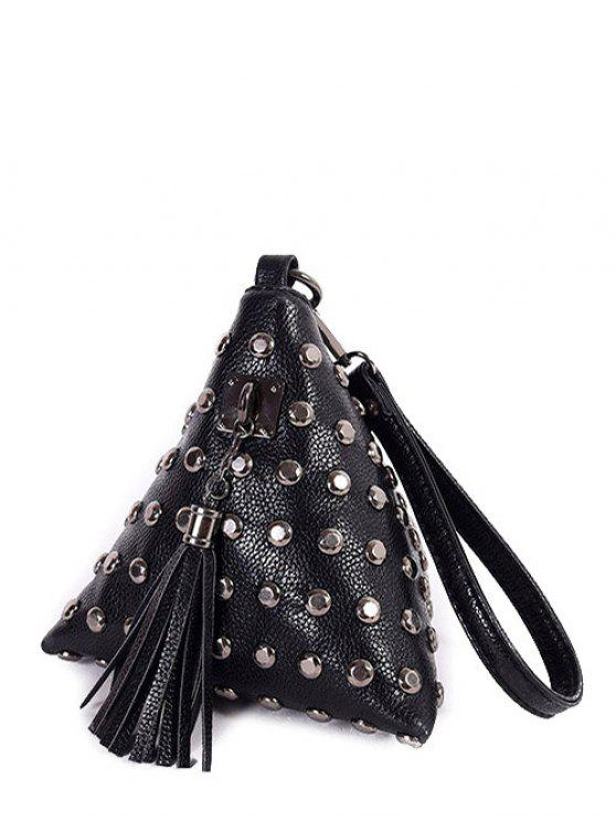 women's Rivet Tassel Triangle Shaped Wristlet - BLACK