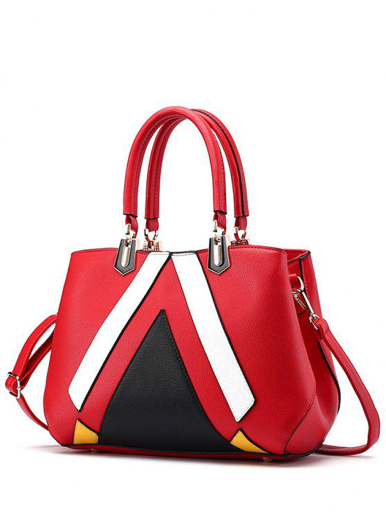 sale Metal PU Leather Color Blocking Tote - RED