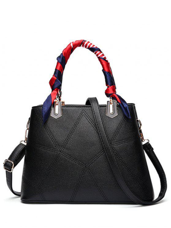 latest Geometric Pattern Scarves PU Leather Handbag - BLACK