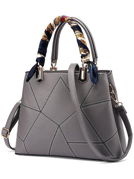 Geometrische Muster Schals PU-Leder-Handtasche - Grau