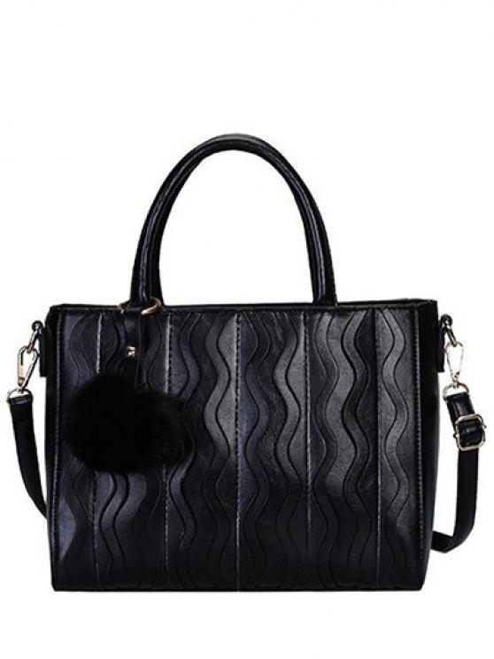 متموجة الشريط نمط المعادن خياطة حمل حقيبة - أسود
