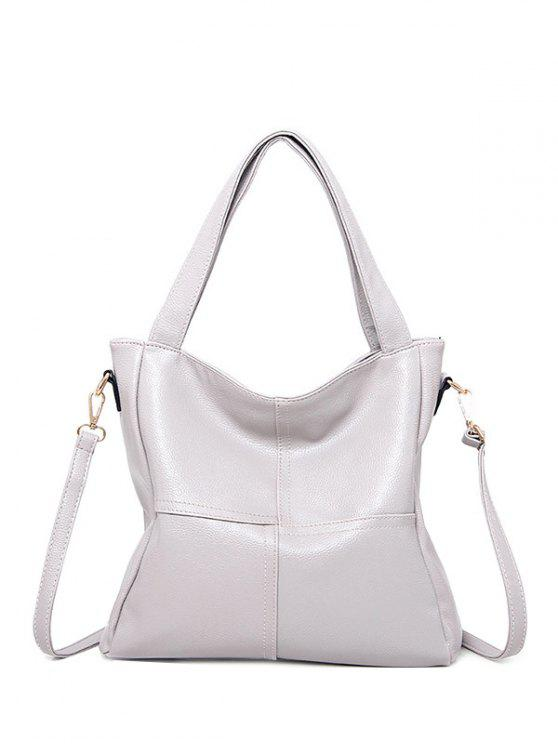 online Stitching Dome Stud PU Leather Shoulder Bag - SILVER GRAY