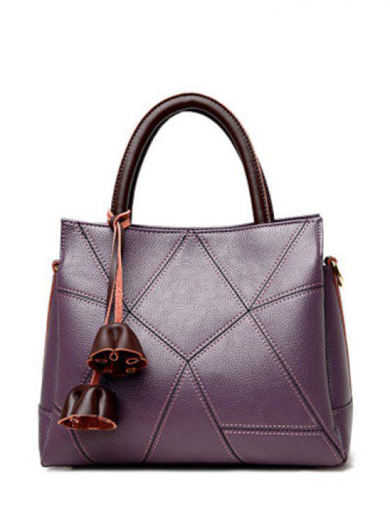 حقيبة توتس كتلة اللون بنمط هندسي - أرجواني