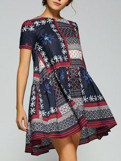 Asymmetrical Ruffle Mini Dress - Multicolor S