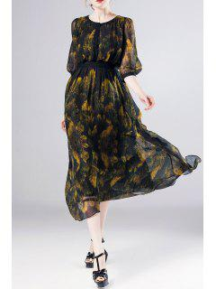 Printed A Line Swing Silk Dress - Floral S