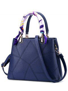 Geometric Pattern Scarves PU Leather Handbag - Sapphire Blue