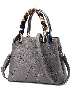 Geometric Pattern Scarves PU Leather Handbag - Gray