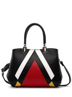 Metal PU Leather Color Blocking Tote - Black
