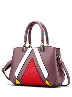 Metal PU Leather Color Blocking Tote - Purple