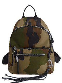 Camouflage Pattern Tassels Splicing Backpack - Khaki