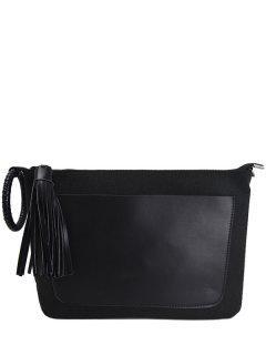 PU Leather Splicing Tassels Clutch Bag - Black