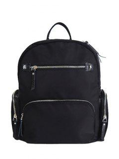 Pockets Splicing Zippers Backpack - Black