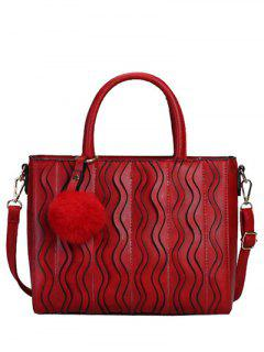 Wavy Stripe Pattern Metal Stitching Tote Bag - Wine Red