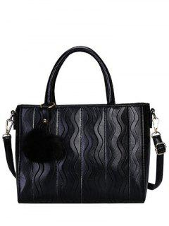 Wavy Stripe Pattern Metal Stitching Tote Bag - Black