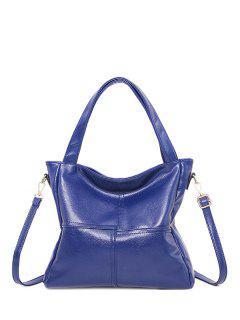 Bolsa Al Hombro Cuero PU Base Apliques Costuras - Azul