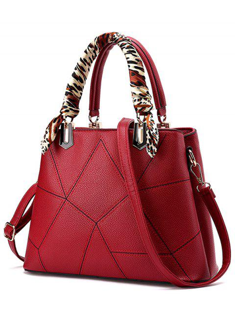 fashion Geometric Pattern Scarves PU Leather Handbag - WINE RED  Mobile