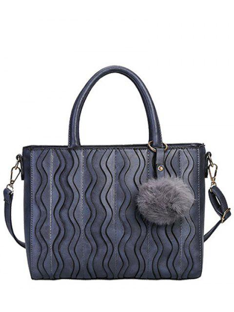 fancy Wavy Stripe Pattern Metal Stitching Tote Bag - DEEP GRAY  Mobile