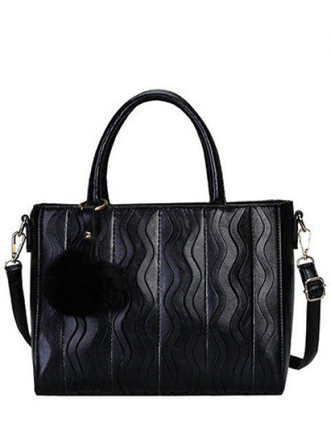 unique Wavy Stripe Pattern Metal Stitching Tote Bag - BLACK  Mobile