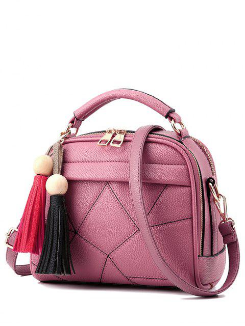 unique Geometric Pattern Stitching Tassels Crossbody Bag - PINK  Mobile