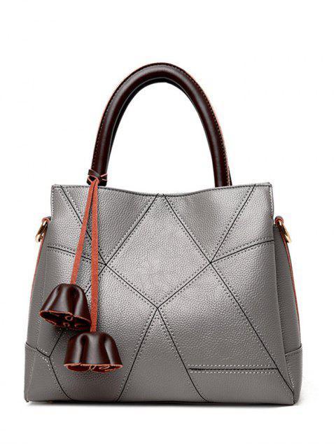 Stitching-Farbblock-geometrisches Muster-Taschen-Tasche - Grau  Mobile