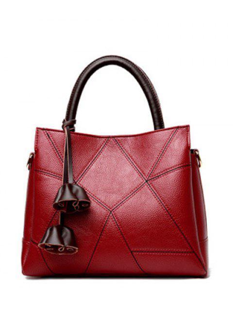 Stitching-Farbblock-geometrisches Muster-Taschen-Tasche - Weinrot  Mobile