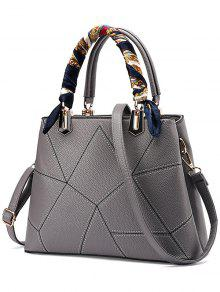 Geometric Pattern Scarves PU Leather Handbag - Gray