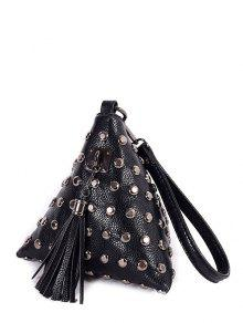 Rivet Tassel Triangle Shaped Wristlet - Black