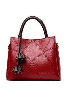 حقيبة توتس كتلة اللون بنمط هندسي - نبيذ أحمر