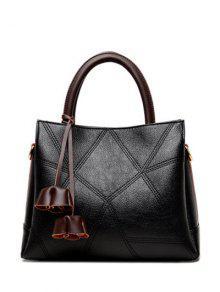 حقيبة توتس كتلة اللون بنمط هندسي - أسود