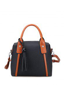 Tassels Colour Spliced Textured Leather Tote Bag - Black