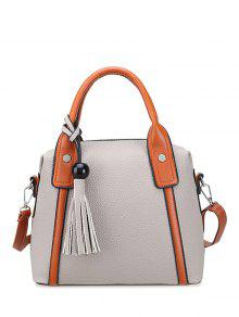 Tassels Colour Spliced Textured Leather Tote Bag - Light Gray