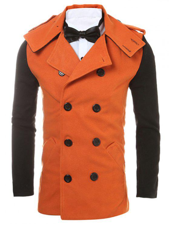 Epaulet Design Back Vent Two Tone Pea Coat ORANGE: Jackets & Coats ...