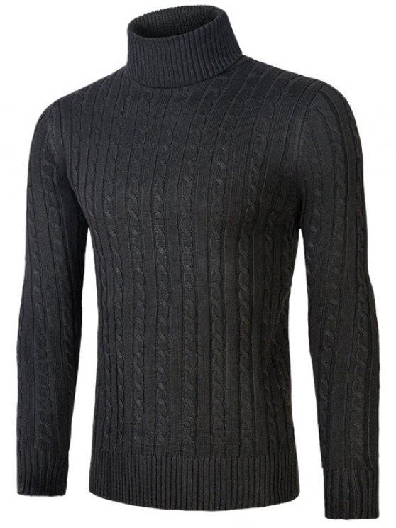 Suéter design torcido com gola alta dobrada - Preto 2XL