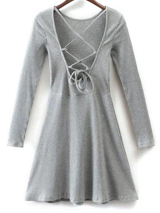 outfits Lace Up Back Skater Dress - GRAY M