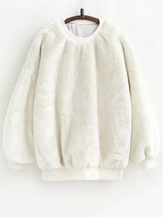 Faux Fur Sherpa Sweatshirt - Weiß Eine Größe