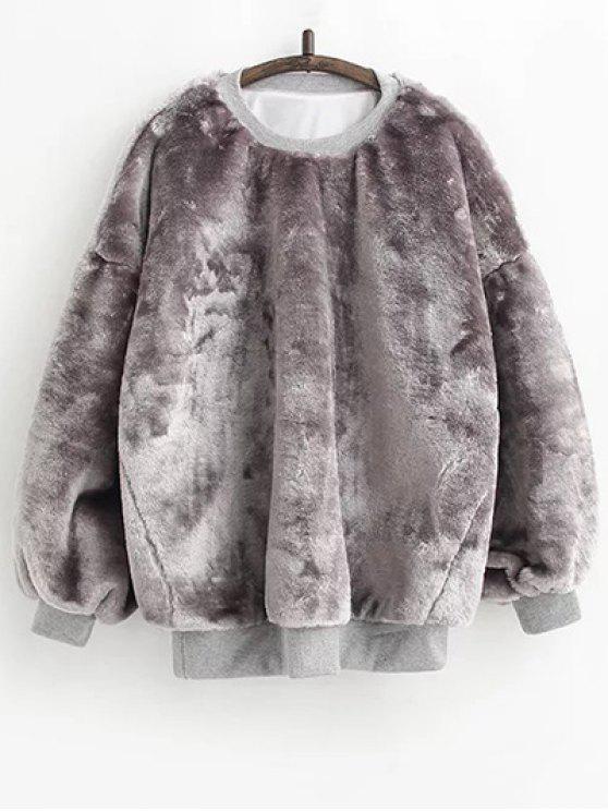 La piel de imitación con capucha Sherpa - Gris Única Talla